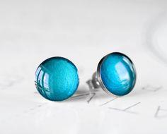 Peacock Resin Stud Earrings  Deep Ocean Aqua by FirebirdJewellery, $19.00