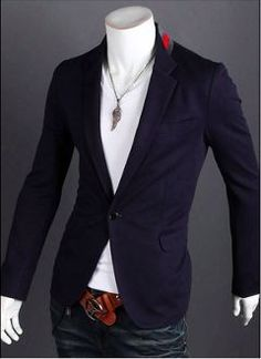 Men  s Casual Blazer with Red Detail Blazer Masculino 6b3cbbc7cd444