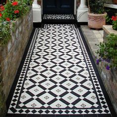 colliford geometric floor tiles are ideal for small rooms, narrow halls and small front porches, for a more intricately decorative floor Hall Tiles, Tiled Hallway, Hallway Flooring, Room Tiles, Outside Tiles, Outside Flooring, Balcony Flooring, Victorian Hallway, Victorian Front Doors
