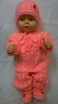 Baby Dolls Knitting Pattern Dress Set Fo - Diy Crafts - maallure Baby Dolls Knitting Pattern Dress S Knitting Dolls Clothes, Crochet Doll Clothes, Knitted Dolls, Doll Clothes Patterns, Baby Born Kleidung, Baby Born Clothes, Diy Crafts Knitting, Crochet Baby Jacket, Baby Boy Blankets