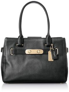 f10662dc82 COACH Women s Polished Pebble Leather New Swagger LI Black Satchel Polished  Pebble