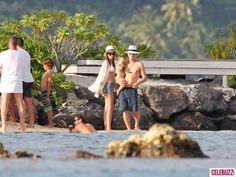 Orlando Bloom, Miranda Kerr, and son Flynn Bloom on the Beach in Bora Bora