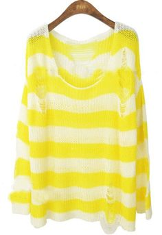 White Yellow Striped Hollow Ripped Pullovers Sweater