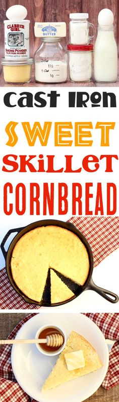 Skillet Cornbread Cast Iron Sweet Southern Side Recipe! Add it to your menu this week, and serve it up with dinner for a new family favorite!