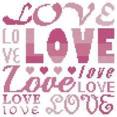 Counted Cross Stitch Pattern LOVE typeset by oneofakindbabydesign, $3.95 Valentine sayings