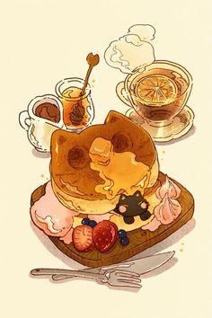 Nao 👔☕️ в Твиттере: «Inktober Pancake. Just a very fluffy pancake *inked traditionally, colored digitally! Cute Food Drawings, Cute Kawaii Drawings, Arte Do Kawaii, Kawaii Art, Japon Illustration, Cute Illustration, Fantasy Illustration, Digital Illustration, Illustration Editorial