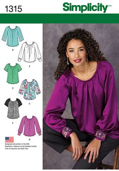 SIMPLICITY 1315 MISSES' BLOUSE WITH SLEEVE & TRIM VARIATIONS