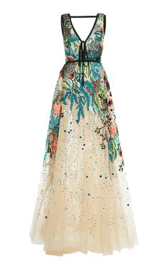 Bead Embroidered Tulle Gown by ELIE SAAB for Preorder on Moda Operandi Open back design Front tie detail Partially linedComposition: polyamide, silkColor: multicolorConcealed back zip closure Made in Lebanon Beautiful Gowns, Beautiful Outfits, Tulle Gown, Beaded Gown, Embellished Gown, Look Boho, Mode Inspiration, Mode Style, Dream Dress