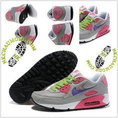 Tendance | Nike Chaussure Sport Air Max 90 Femme Gris/Rose/Vert Et Jaune