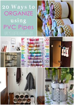 20 Ways to Organize Using PVC Pipes - Here are 20 ways to use PVC pipes in an unconventional way to organize your home. UpcycledTreasures.com
