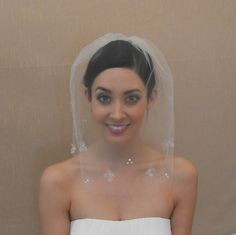 Wedding Tulle Veil with Silk Organza Flowers by glamorbydesign, $100.00