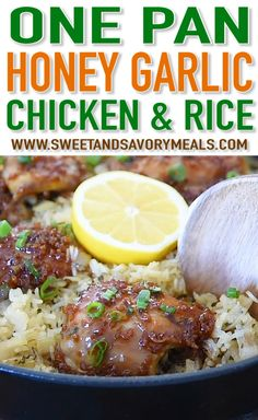 Instant Pot Recipes 331155378853107382 - One Pan Honey Garlic Chicken and Rice is sweet and savory with tender chicken baked with flavorful rice. This is a restaurant quality meal made easily and conveniently at home. One Pot Meals, Easy Meals, Baked Chicken Tenders, Baked Honey Garlic Chicken, Parmesan Roasted Cauliflower, Honey Garlic Sauce, Crispy Chicken, Meal Prep Plans, Cooking Recipes
