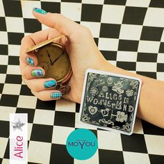 Fall down the hole and discover even more designs... #aliceinwonderland #moyounails #moyounailfashion #newdesigns #trendy #nailart #notd #lovenails