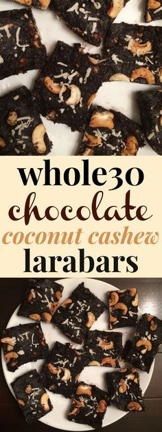 Whole30 Homemade Chocolate Coconut Cashew Larabars | These paleo no-bake homemade larabars look AMAZING! I love that they're Whole30 compliant and vegan, and that they're made with dates but no sugar! These will make a perfect healthy snack (or clean eating dessert) that my whole family will love. Plus it costs a lot less to make these at home than buying Larabars at the store! Definitely pinning! #whole30 #nobake #vegan #paleo