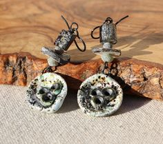 By the Sea  Barnacle Dropper Earrings with Ancient by IVANCHE