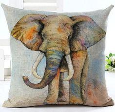 African Elephant Digital Printing Linen Throw Pillow