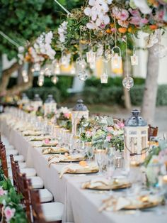 Garden wedding reception decor idea - hanging greenery with floating candles and. Garden wedding reception decor idea - hanging greenery with floating candles and lantern centerpieces Destination Weddin. Romantic Wedding Receptions, Wedding Reception Decorations, Wedding Centerpieces, Rustic Wedding, Wedding Ideas, Wedding Tables, Reception Ideas, Floral Wedding, Wedding Inspiration