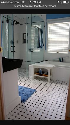Bathroom: Fancy White Bathroom Decorating Design Ideas With Black And White Tile  Bathroom Floor Along With Square Glass Shower Room And White Tile Bathroom  ...