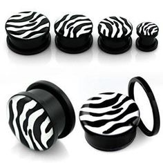 Style Sanctuary  - Screw Fit Acrylic Flesh Plug with Zebra Print Design, £2.99…