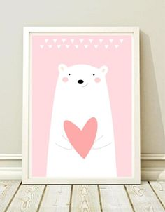 A3 Poster fürs Kinderzimmer mit Eisbär und rotem Herz / artprint with cute polar bear print made by Black Dot Studio via DaWanda.com