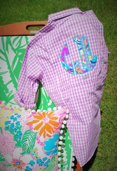 Love!! Lilly Pulitzer Monogrammed Gingham Columbia by TantrumEmbroidery