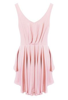 Pink Backless Drawstring Waist Pleated Dress - Front