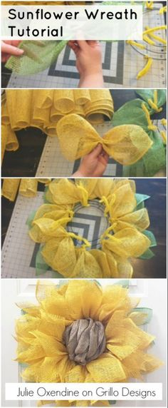 Tutorial Julie Oxendine shares how to make a Sunflower Wreath - the perfect look for spring!Julie Oxendine shares how to make a Sunflower Wreath - the perfect look for spring! Sunflower Burlap Wreaths, Sunflower Crafts, Sunflower Door Hanger, Wreath Crafts, Diy Wreath, Wreath Ideas, Wreath Hanger, Diy Crafts, Food Crafts