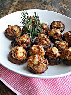 sweetsugarbean: Sausage & Asiago Stuffed Mushrooms with Balsamic Glaze