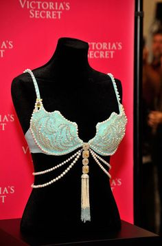 Victoria's Secret $2.5 million Fantasy Treasure Bra. The Bra is covered in 142 carats of white and yellow diamonds, pearls, faceted citrines, and aquamarines. It also features two gigantic 8-carat white diamonds, as well as two 14-plus-carat yellow diamonds.