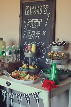 Football Birthday Party Ideas | Catch My Party #superbowl #football #party...Hobby Lobby has the tiered trays.