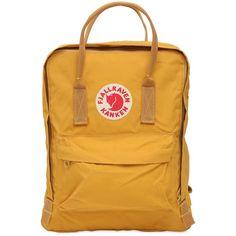 Fjall Raven Women 16l Kanken Nylon Backpack (133 AUD) ❤ liked on Polyvore featuring bags, backpacks, ochre, top handle bags, backpack bags, fjällräven, fjallraven backpack and fjallraven rucksack