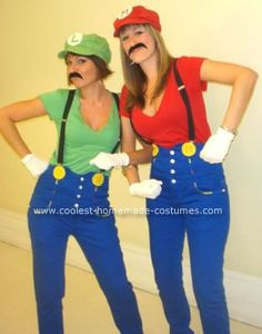 Homemade Mario and Luigi Costumes: Here is what you'll need to make these Mario and Luigi Costumes: - Blue high-waist pants or blue overalls (We were just so lucky we found those DESIGNER