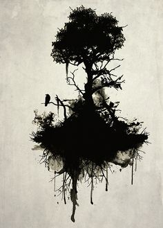 Last Tree Standing A surreal image of a floating dark tree with roots dripping from oil and a lone raven resting on one of its branches. It is to symbolize the Tree of Life or as the name states, the Last Tree Standing. Ghostly and surreal with smoke and spatter