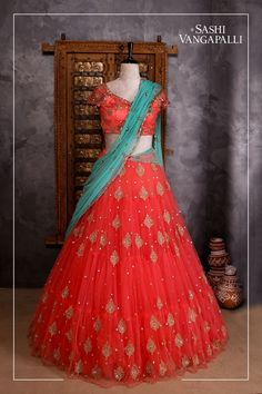 Stunning bridal designer lehenga and blouse with powder blue color net dupatta. Lehenga and blouse with hand embroidery work. Designer lehanga by sashivangapalli.Brides you have one stop destination for all your bridal needs !For Enquiry:Contact : 90007 Half Saree Lehenga, Lehenga Gown, Bridal Lehenga Choli, Anarkali Dress, Lehenga Wedding, Net Lehenga, Half Saree Designs, Bridal Blouse Designs, Lehenga Designs