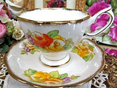 ROYAL ALBERT TEA CUP AND SAUCER CROWN CHINA 1920'S FLORAL TEACUP PAINTED
