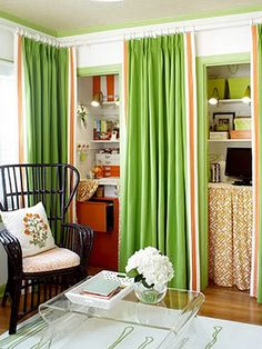 drapes over doors like this if you need storage space.