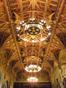 The ceiling of the Great Hall, Cardiff Castle in Wales
