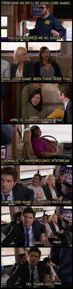 Parks & Rec - Code Names lol Parks And Rec Memes, Parks And Recs, Parks And Recreation Ben, Funny Memes, Hilarious, Jokes, Funny Quotes, Memes Humor, Satire