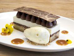 BANOFFEE GATEUX :: Salted Almond Crumble, Caramelized White Chocolate Blondie, Valrhona Bahibe Milk Chocolate Creameux, Banana Mousse, Roasted Banana Gelato