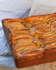 German Apple Cake. Notes: accidentally used extra 1/3 cup sugar in batter, but wasn't too sweet. Made in springform pan. In future would line with parchment to avoid sticking. Cooked just over an hour. Tasted and looked good, very moist.