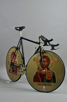 Despite appearances, this is not actually a bike. It's piece by an artist named Daniel Bragin, who was born in Moscow but lives and works in London and Amsterdam. The correct title of the work is 'Proposal for Russian Olympic Cycling Team 1992′, a statement about the New, emerging Russia.
