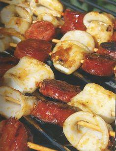 Brochettes de seiches au chorizo