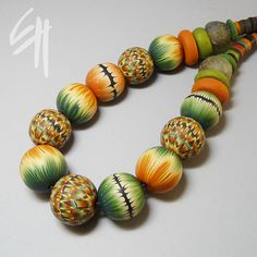 Polymer clay beads by Eva Haskova - Wonderful colors!!!