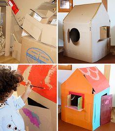 Kinderspielhaus aus Karton selbermachen, pappe, Pappkarton, Kinderhaus, Spielhaus, Papphaus, selberbauen, selberbasteln, Anstreichen mit Acrylfarben