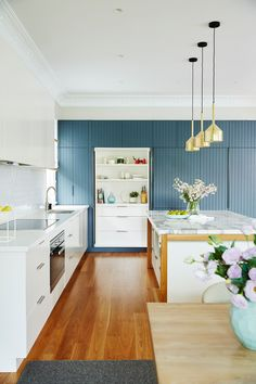 Kitchen Interior Design Kitchen from a colourful and contemporary renovation of a Sydney Federation villa. Farmhouse Style Kitchen, Modern Farmhouse Kitchens, New Kitchen, Home Kitchens, Kitchen Decor, Rooster Kitchen, Kitchen Themes, Awesome Kitchen, Modern Kitchen Interiors