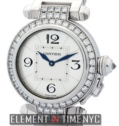 Cartier Pasha 32mm iN 18k White Gold With A Silver Arabic Dial And A Factory Diamond Bezel (WJ11924G)