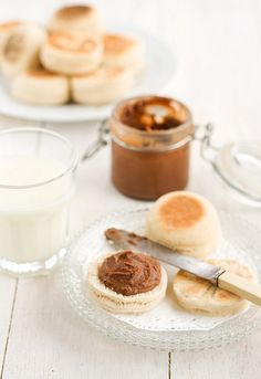 homemade english muffins with nutella