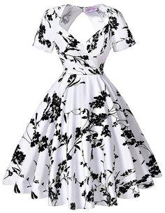 Women Vintage Dresses Retro 1950s Floral Party Dress: Amazon Fashion