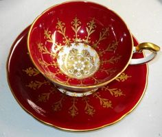 Aynsley China England Red Gold Medallion Abstract Footed Red Tea Cup and Saucer | $250