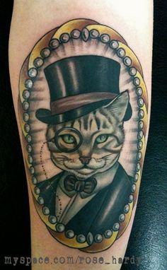 Arm Cat Medallion Tattoo by Rose Hardy Tattoo Rose Hardy, Arm Tats, Getting A Perm, Fancy Cats, Animal Skulls, Cat Tattoo, Cat Design, Body Mods, Old School